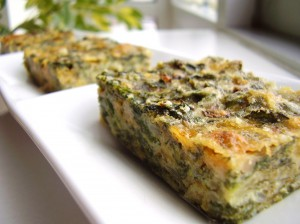 three cheese spinach squares
