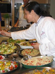 Jackie teaching a recreational cooking class at ICE in New York