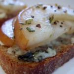 Caramelized Bosc Pear and Gorgonzola Crostini