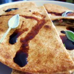 Caramelized Pear, Roquefort and Prosciutto Quesadilla