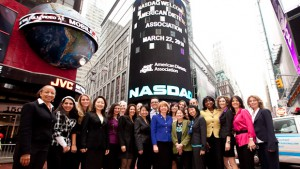 Jackie pictured 5th from left after the ringing of the NASDAQ closing bell