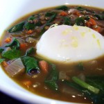 Lentil and Greens Soup with Poached Egg