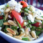 Fresh Baby Spinach Orzo Salad with Goat Cheese