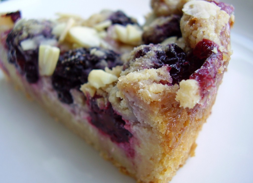 Blackberry Mousse Almond Crumb Cake