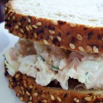 Fresh Tarragon Chicken Salad with Almonds on Marble Rye