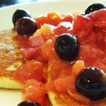 Oat Pancakes with Fruit Compote