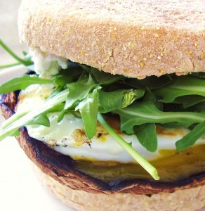 Egg and Smoky Portabella Breakfast Sandwich