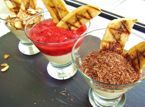 grilled greek yogurt banana split trio