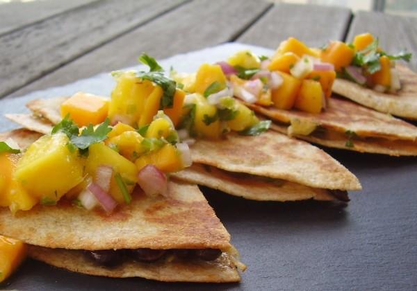 Black Bean and Cheese Quesadilla with Mango-Tequila Pico de Gallo