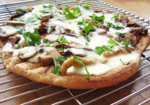 grilled mushroom and taleggio pizza--whole