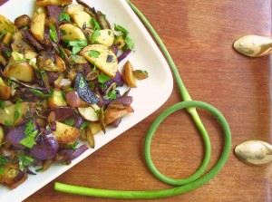 garlic scape & herb hash brown potatoes