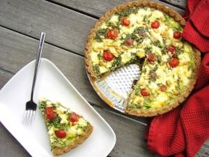bottomless mediterranean-style quiche slice