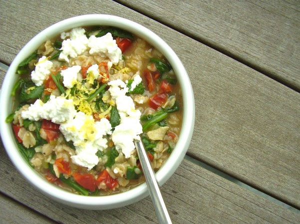 spinach & goat cheese oatmeal