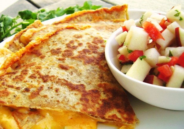 sharp cheddar quesadilla with fresh apple salsa