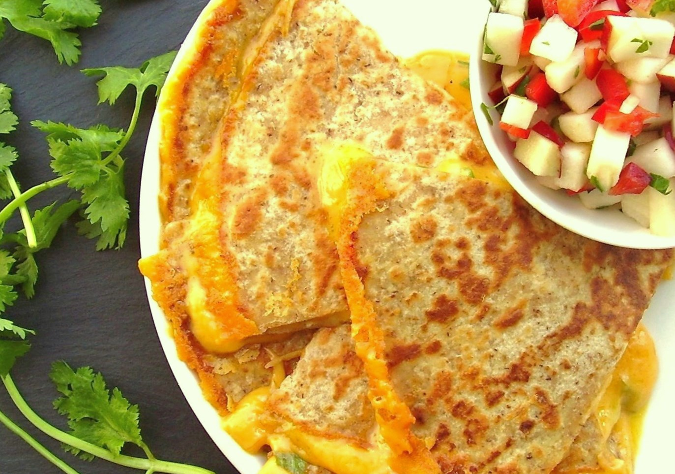 sharp cheddar quesadilla with apple salsa