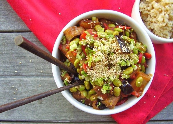 eggplant stir-fry with general tso's sauce
