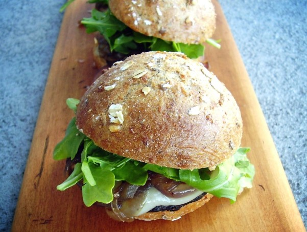portabella and swiss cheese sliders