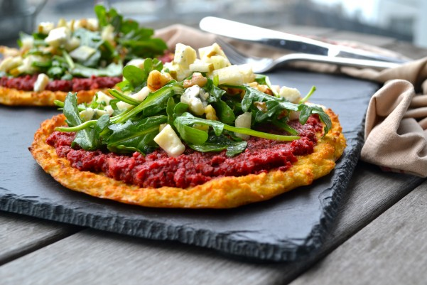 "Beet ""Pesto"" Cauliflower Pizza with Greens"