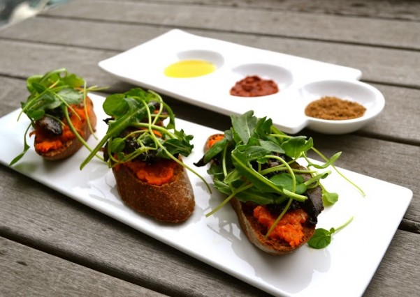 Vegan Portabella Crostini with Tunisian Carrot Puree and Greens_portion