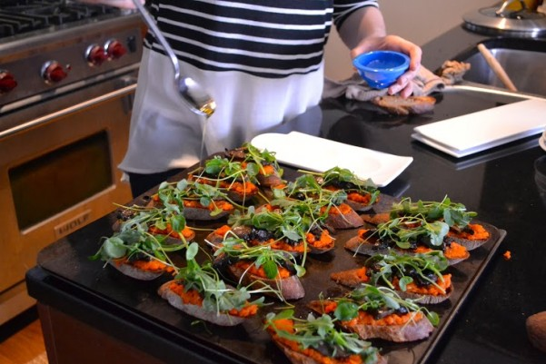 Vegan Portabella Crostini with Tunisian Carrot Puree and Greens_with Rahma