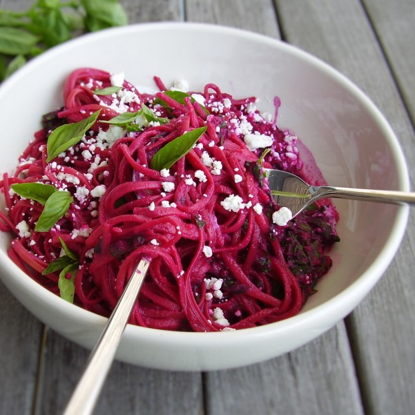 beet, greens and goat cheese linguine