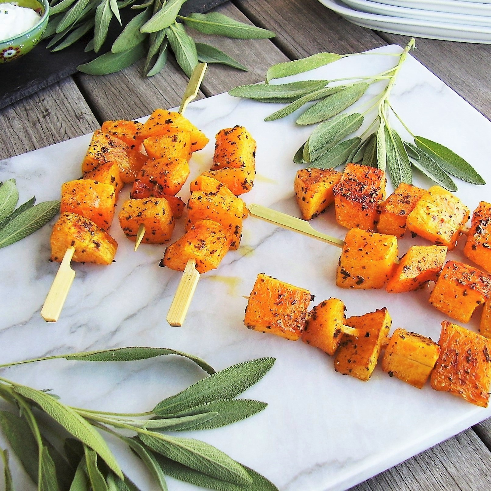 roasted butternut squash skewers