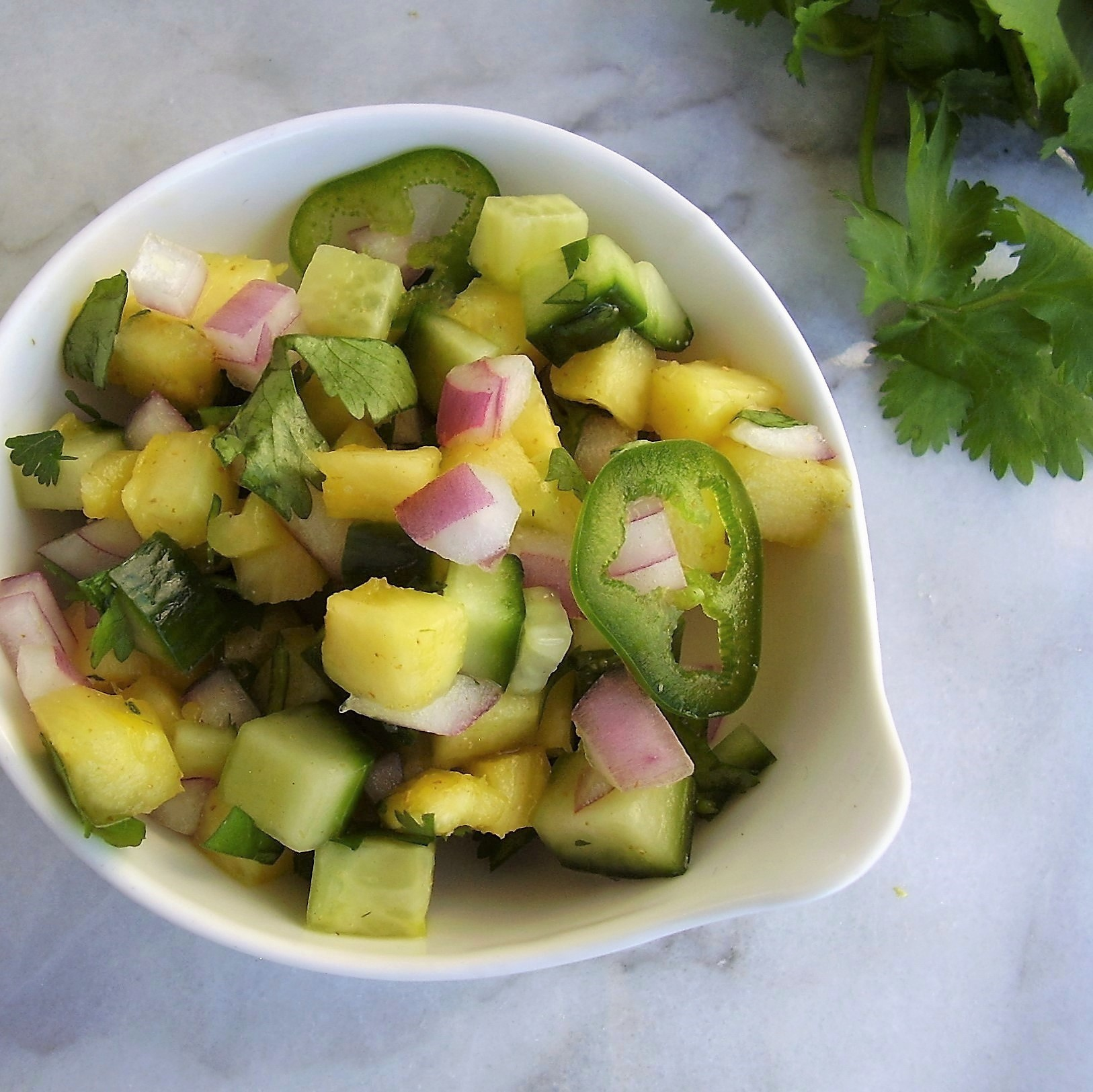 fresh pineapple-cucumber salsa