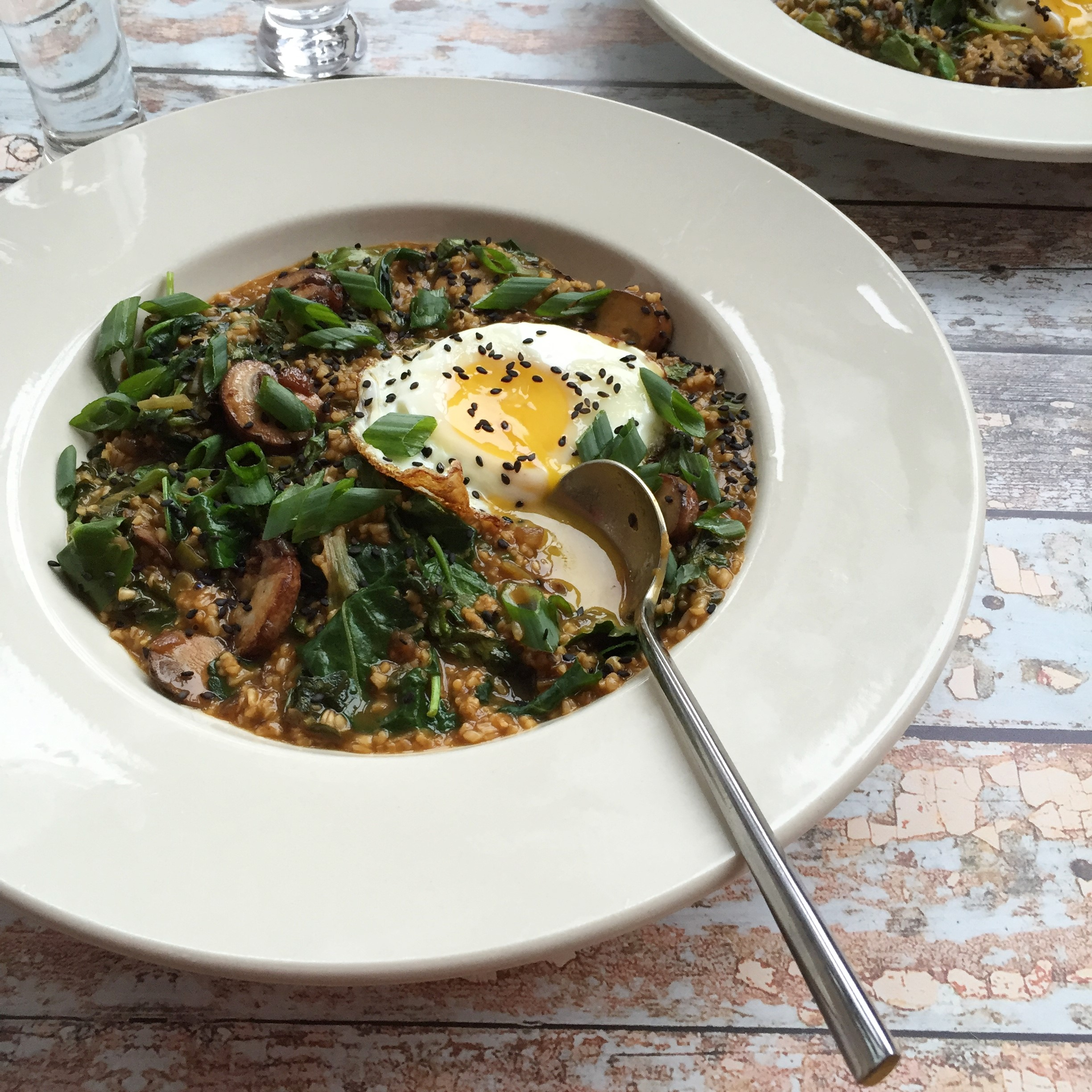 savory kale and crimini oatmeal with fried egg_main
