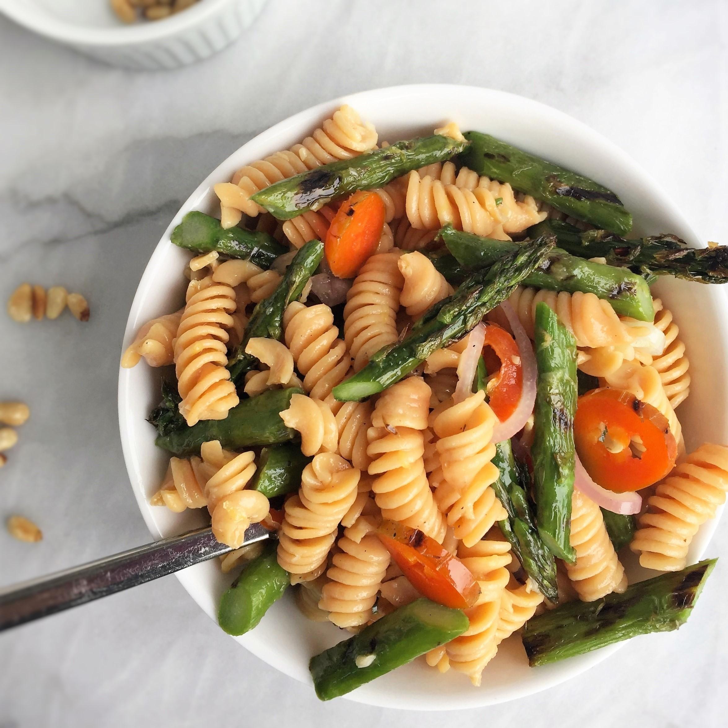 vegan charred asparagus pasta salad