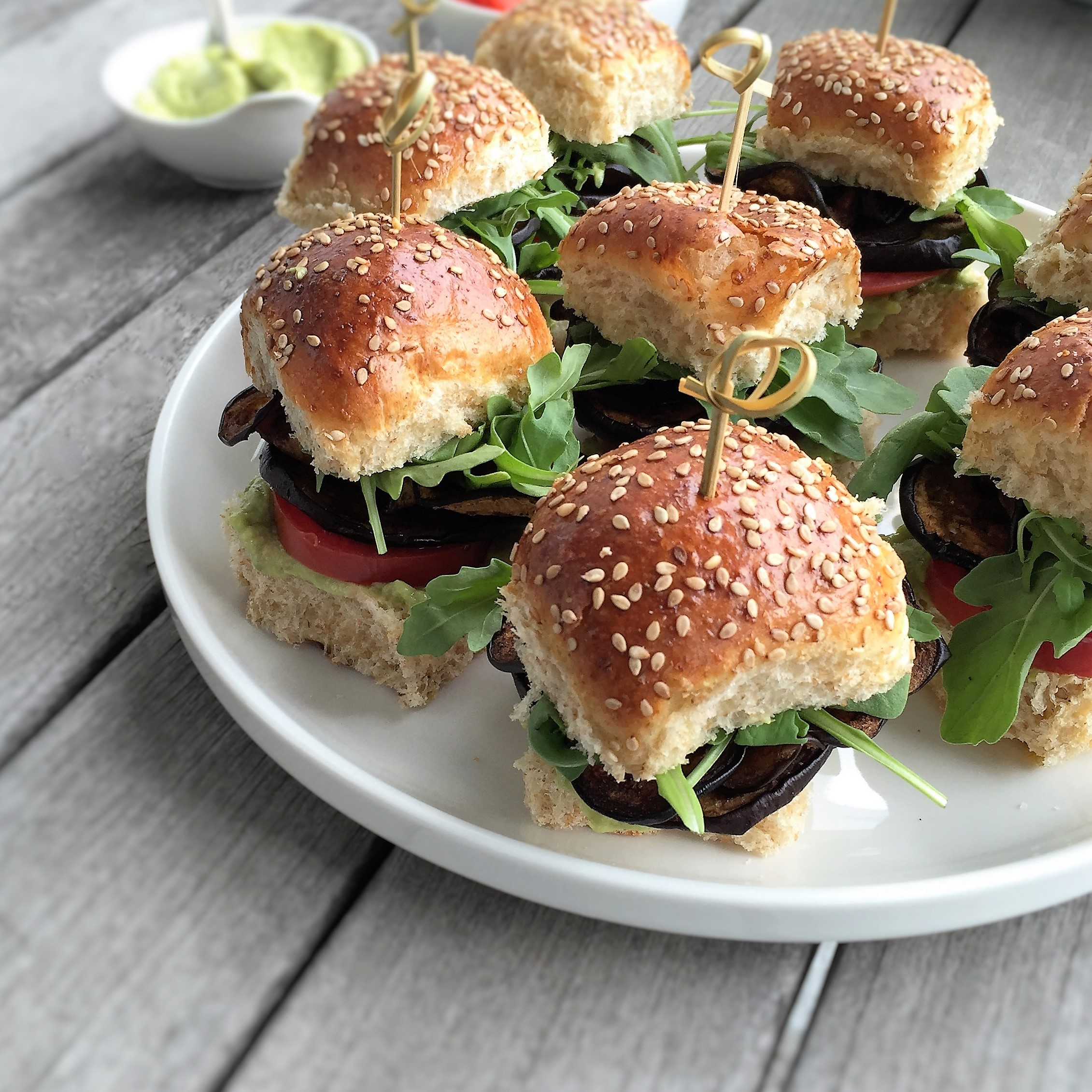 "vegan eggplant bacon ""blt"" sliders"