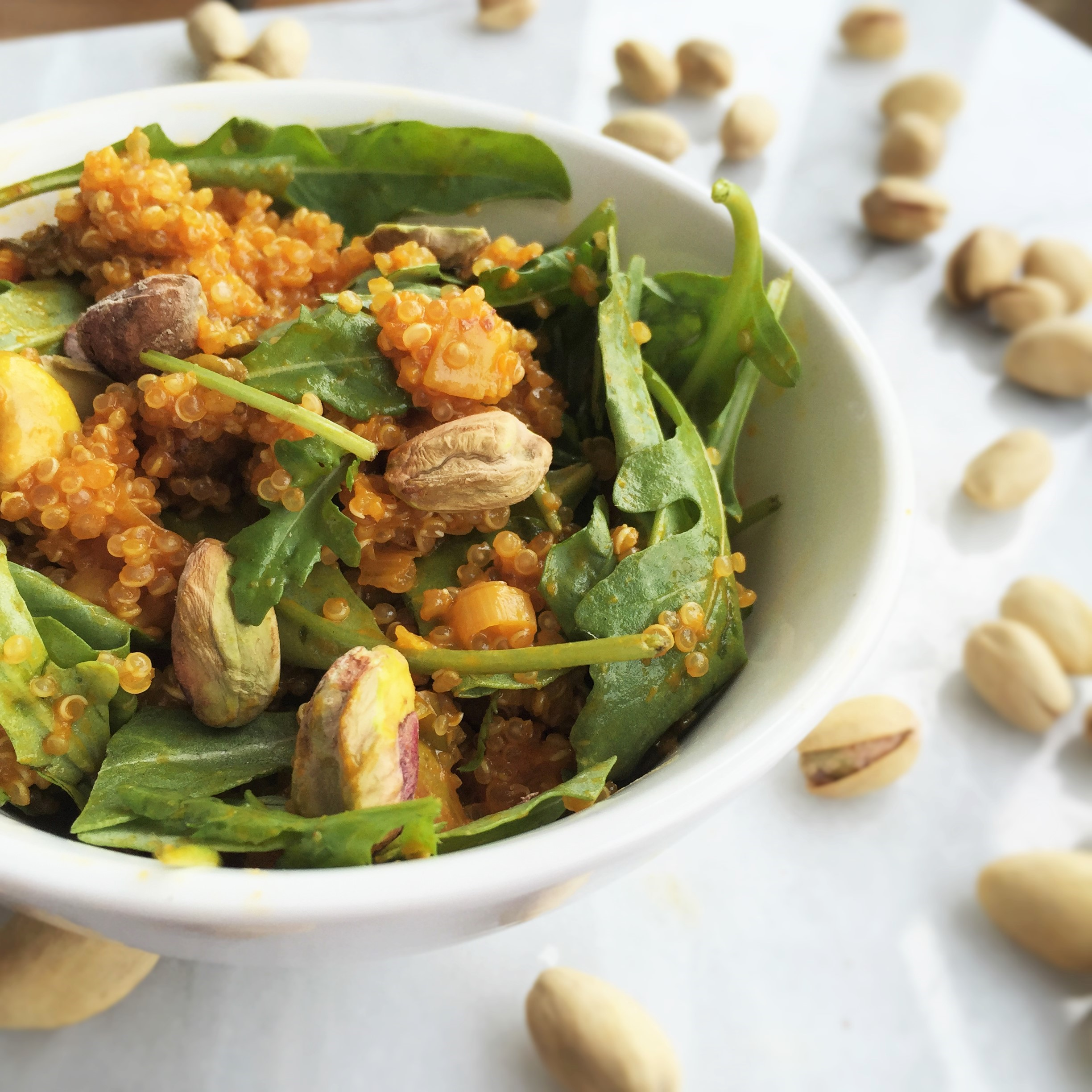 juice-infused quinoa salad with pistachios