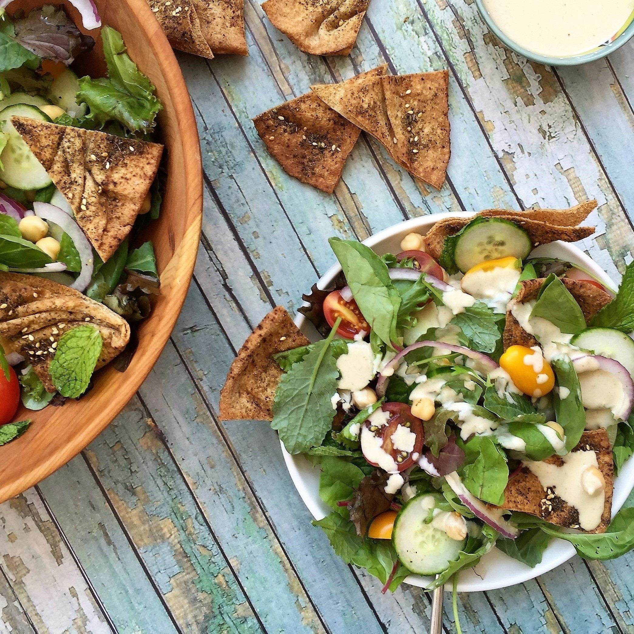 lebanese salad with lemony tahini dressing and za'atar pita chips