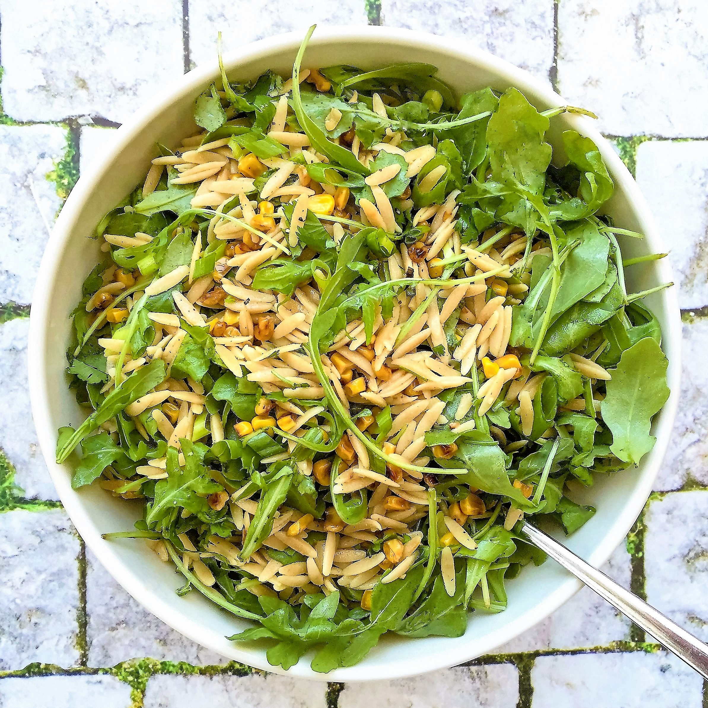 orzo, greens, and pan-charred corn salad