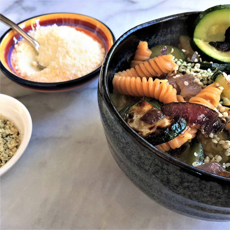 veggie & red lentil rotini pasta bowl