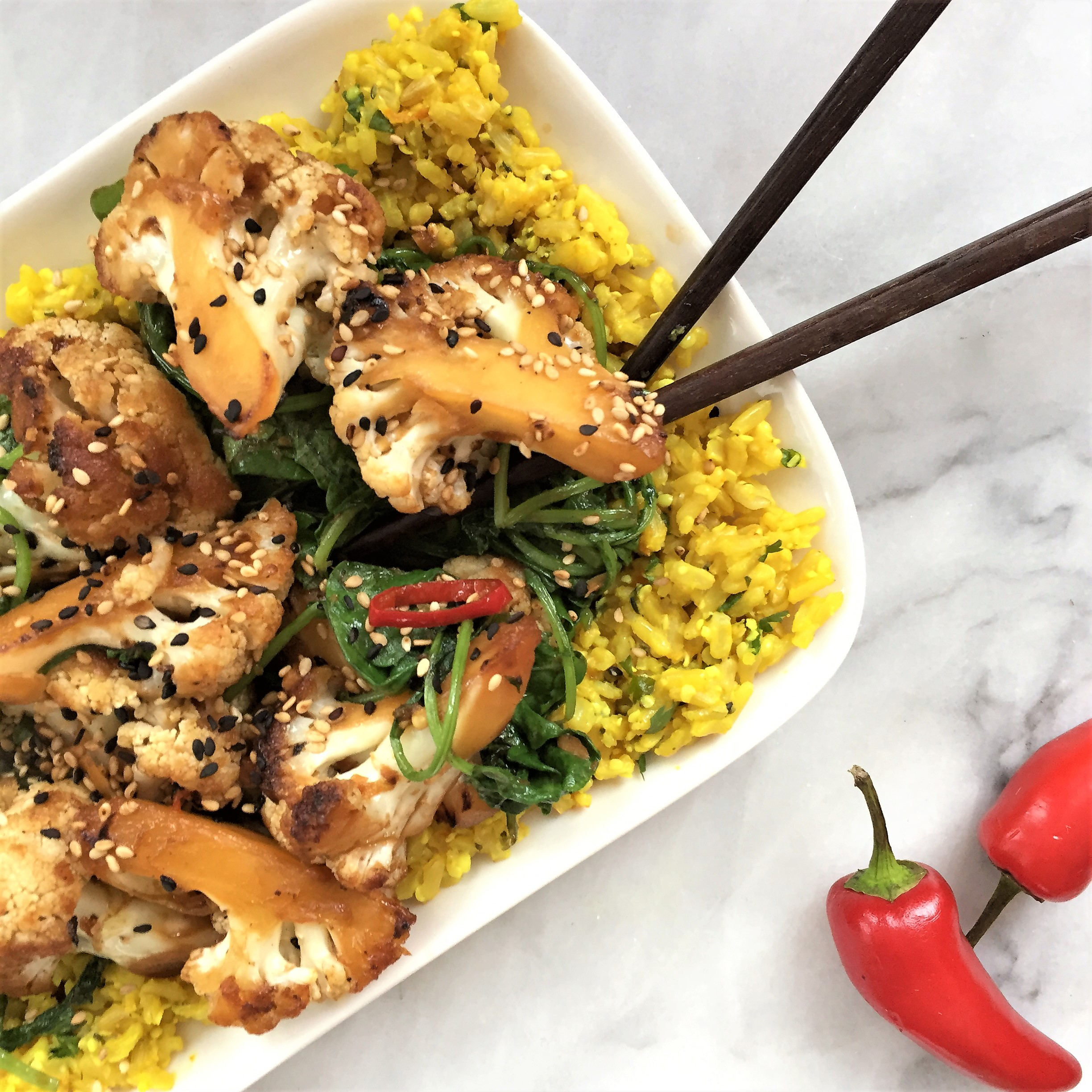 teriyaki cauliflower & kale stir-fry