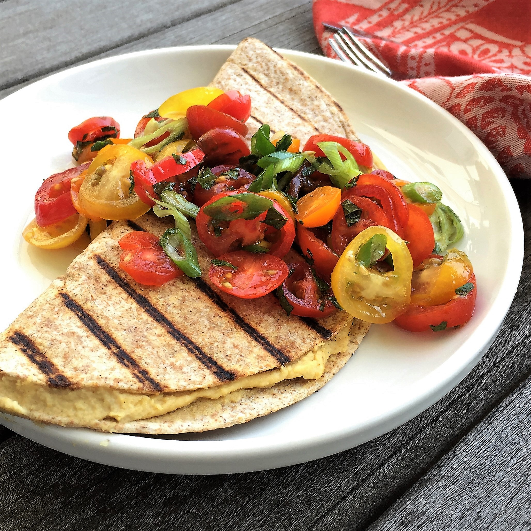 grilled hummus quesadilla