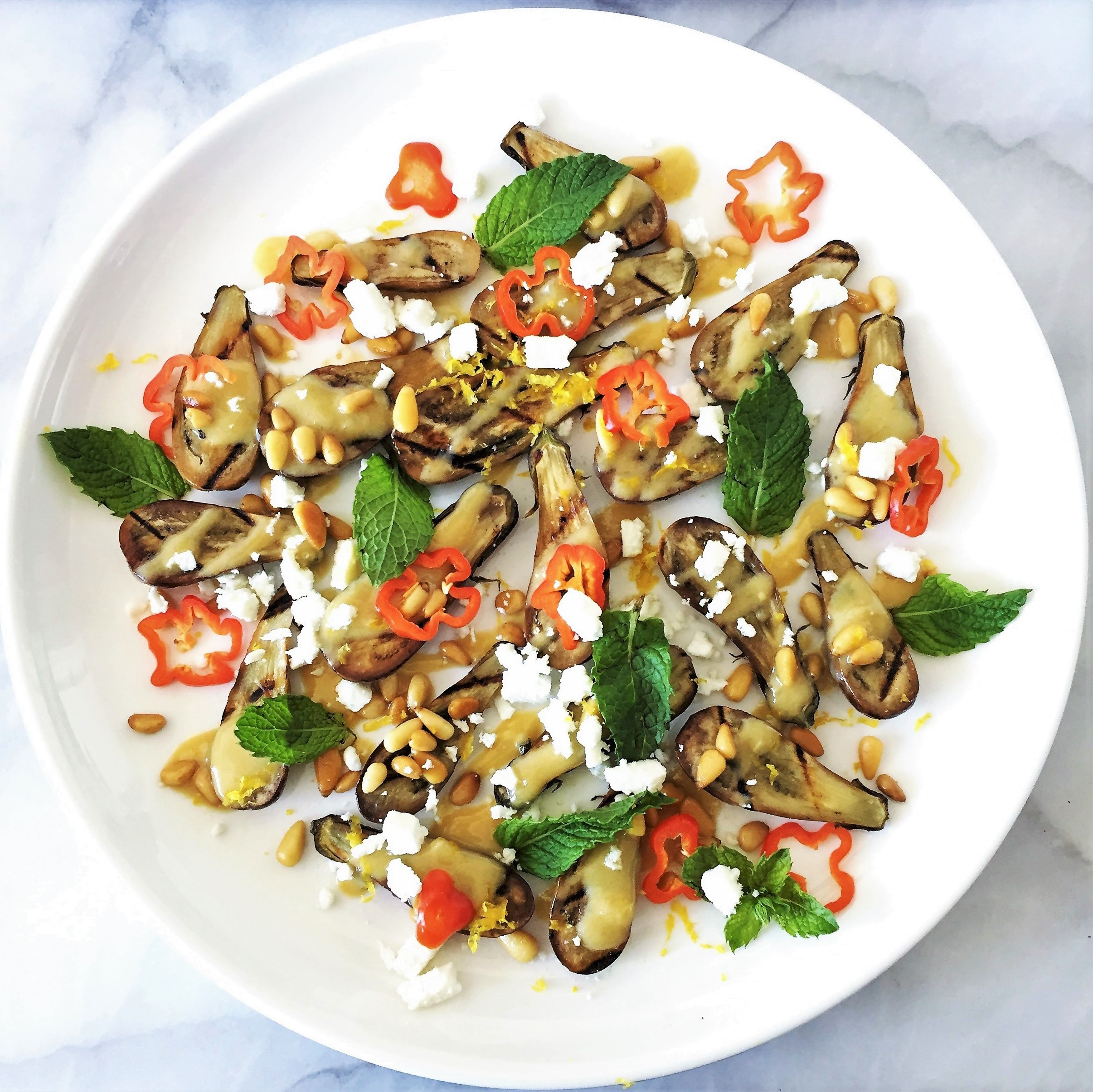 grilled fairytale eggplant with lemony-tahini dressing