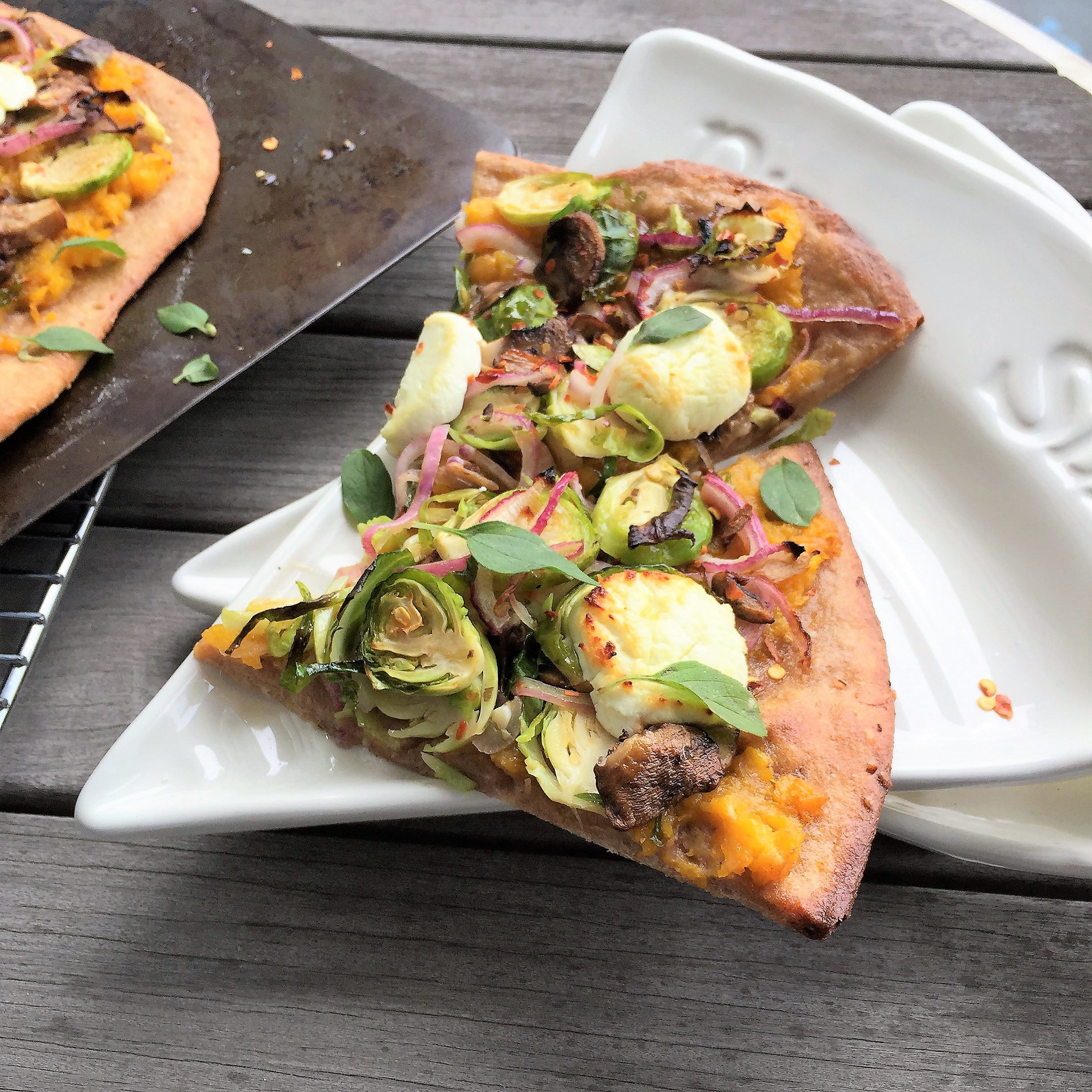 Brussels Sprouts & Butternut Squash Pizza with Goat Cheese