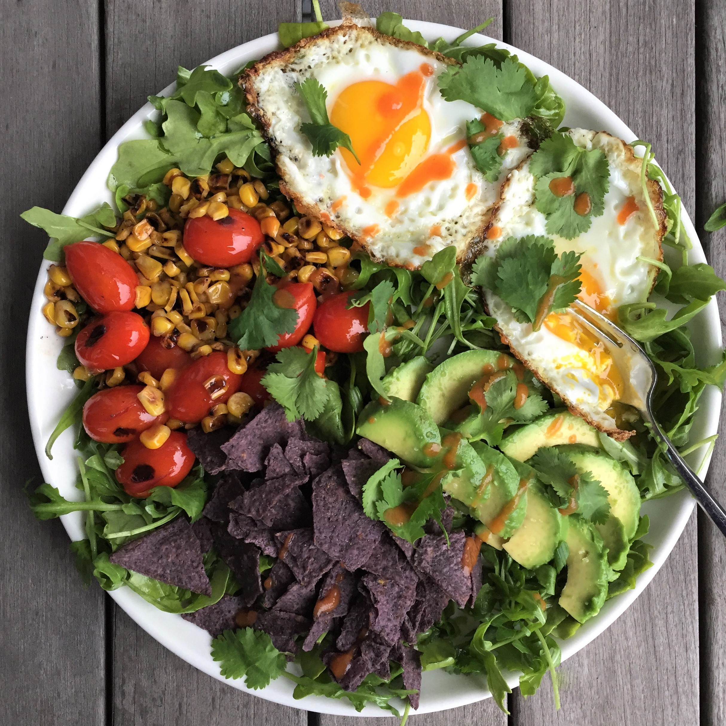 mexican brunch salad with pan-charred vegetables