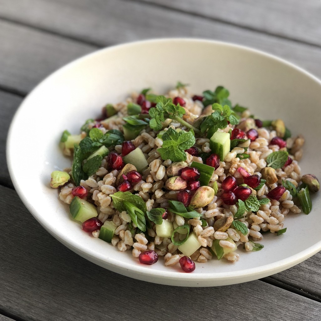 lemon-ginger farro salad with pomegranate & pistachios