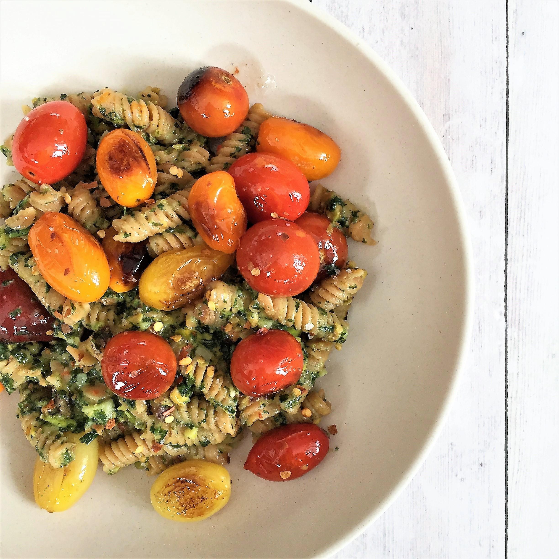 red lentil pasta with vegan basil-pistachio pesto - Jackie