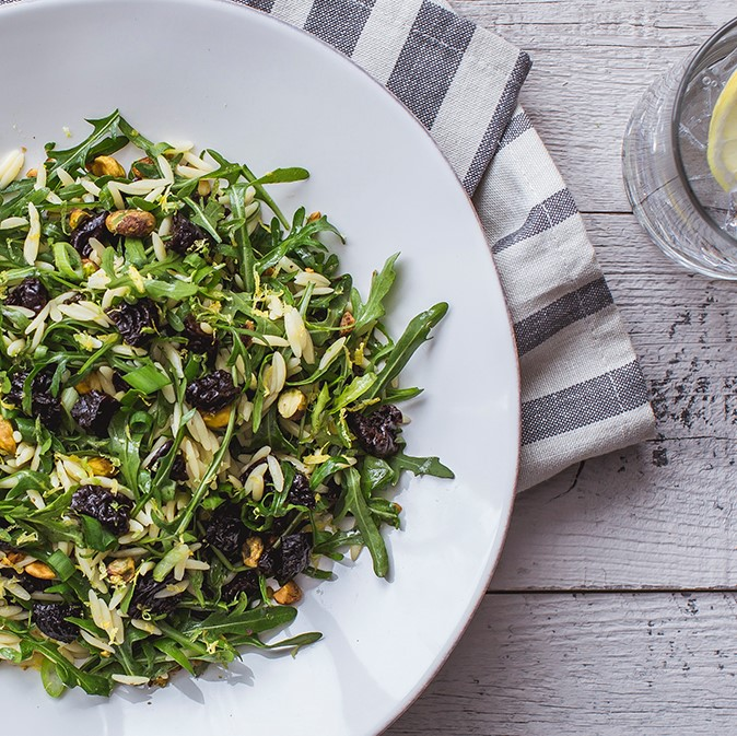 Orzo & Arugula Salad with California Prunes & Pistachios
