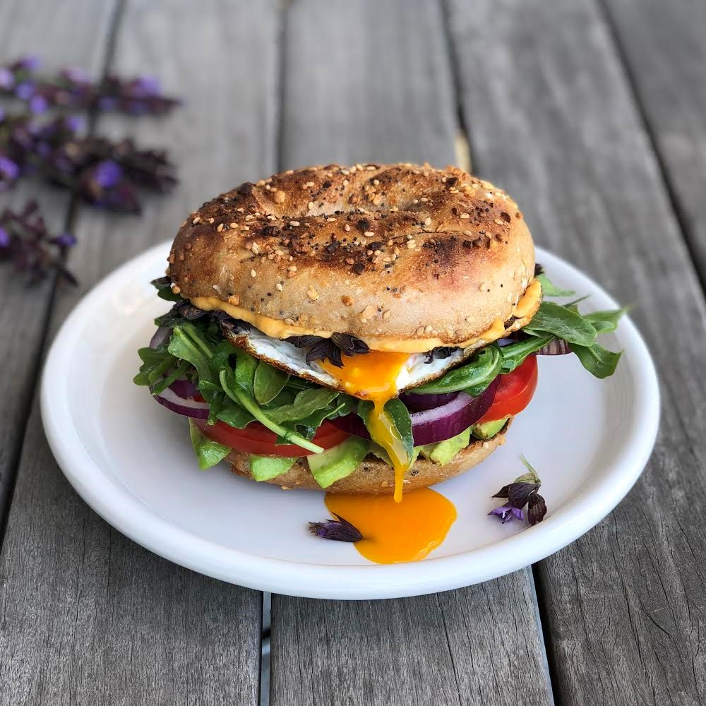 breakfast egg sandwich with sage flowers