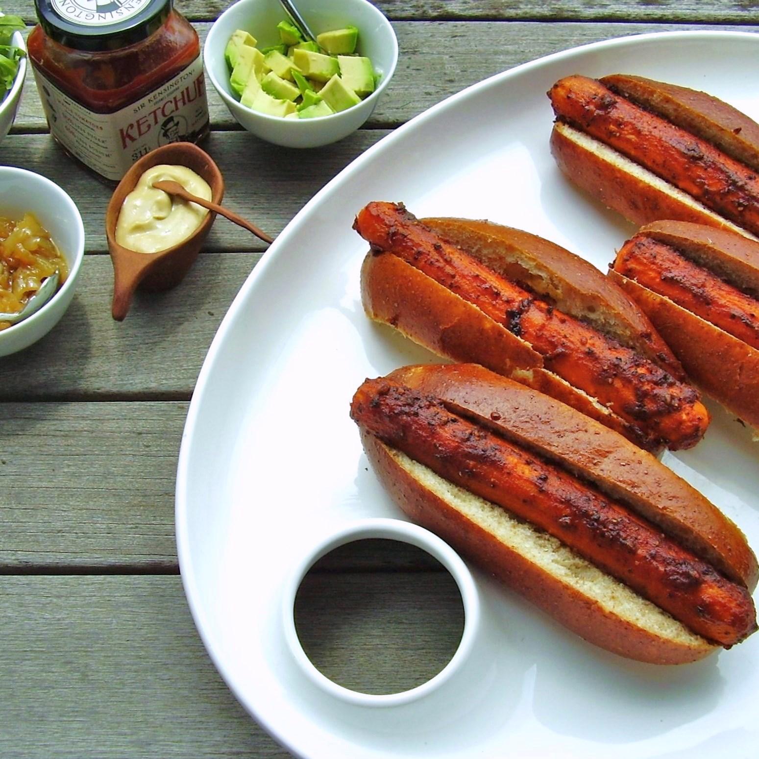 roasted vegan carrot hot dogs