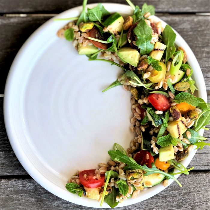 lemony herb farro salad with avocado & grilled zucchini