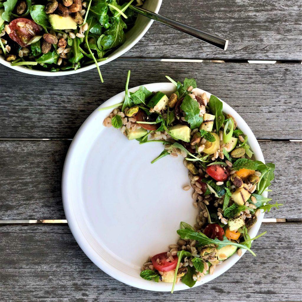 lemony herb farro salad with avocado & grilled zucchini