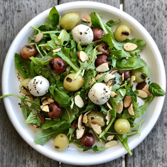 anytime arugula and grilled grape salad