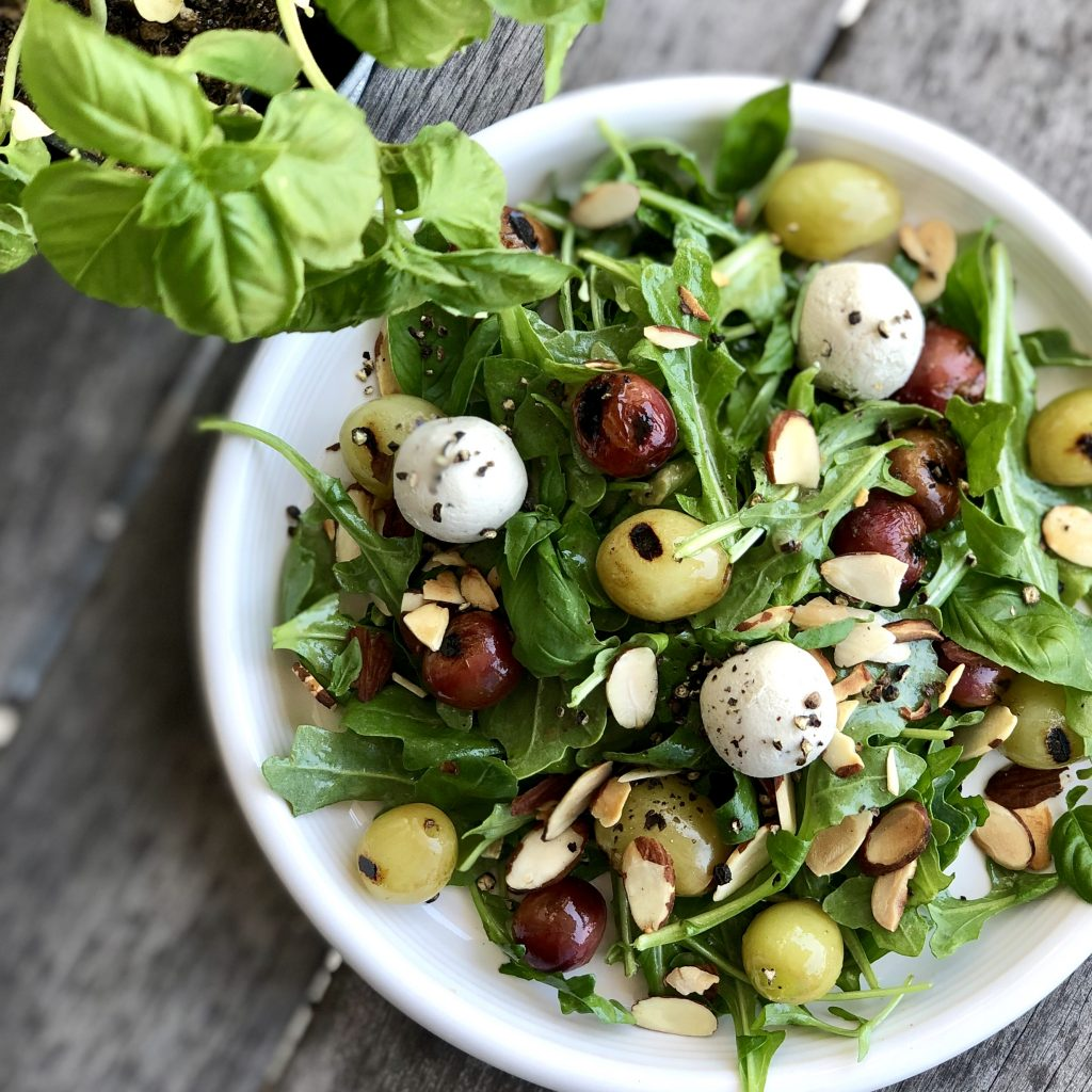 anytime arugula and grilled grape sala
