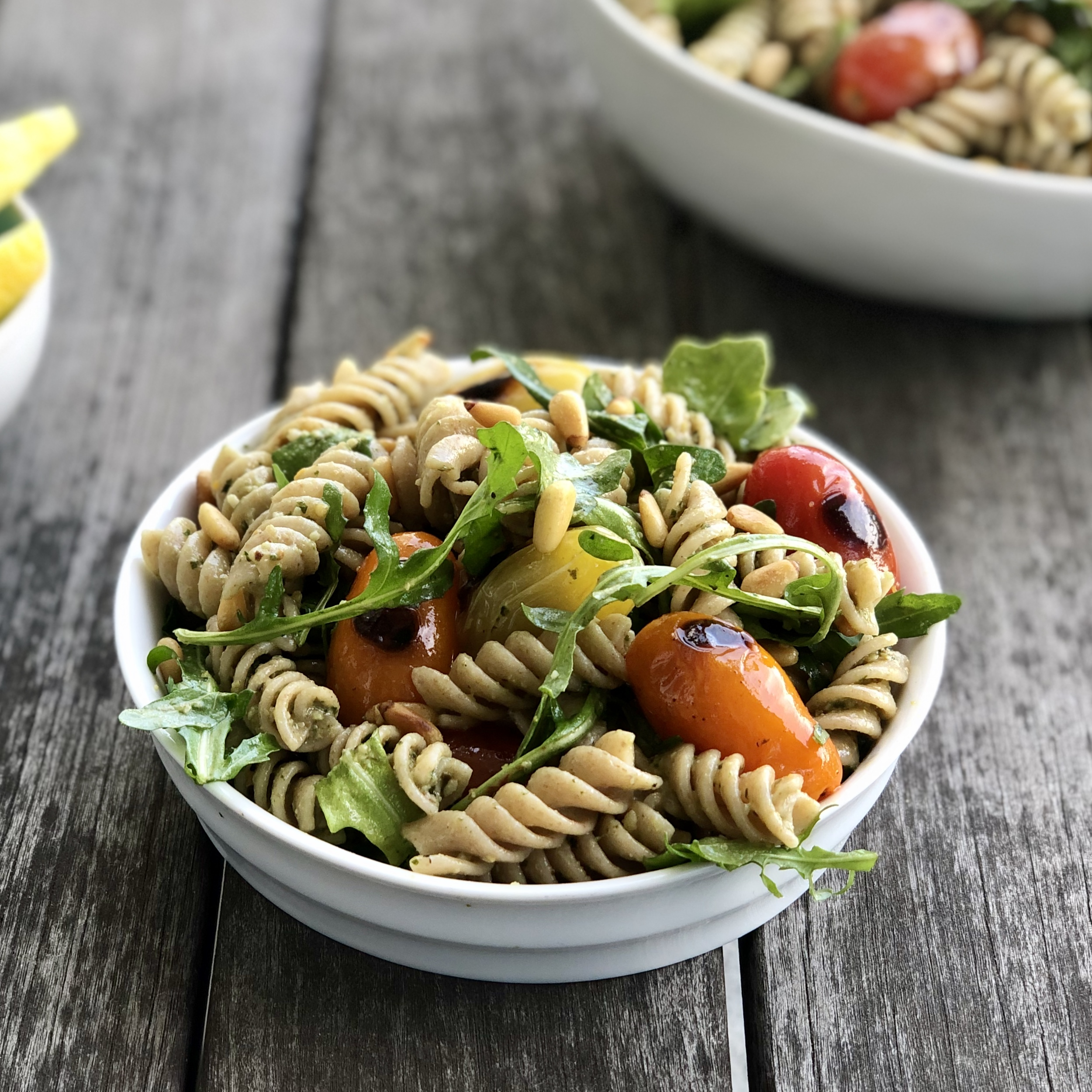 plant-based pesto pasta salad with grilled grape tomatoes