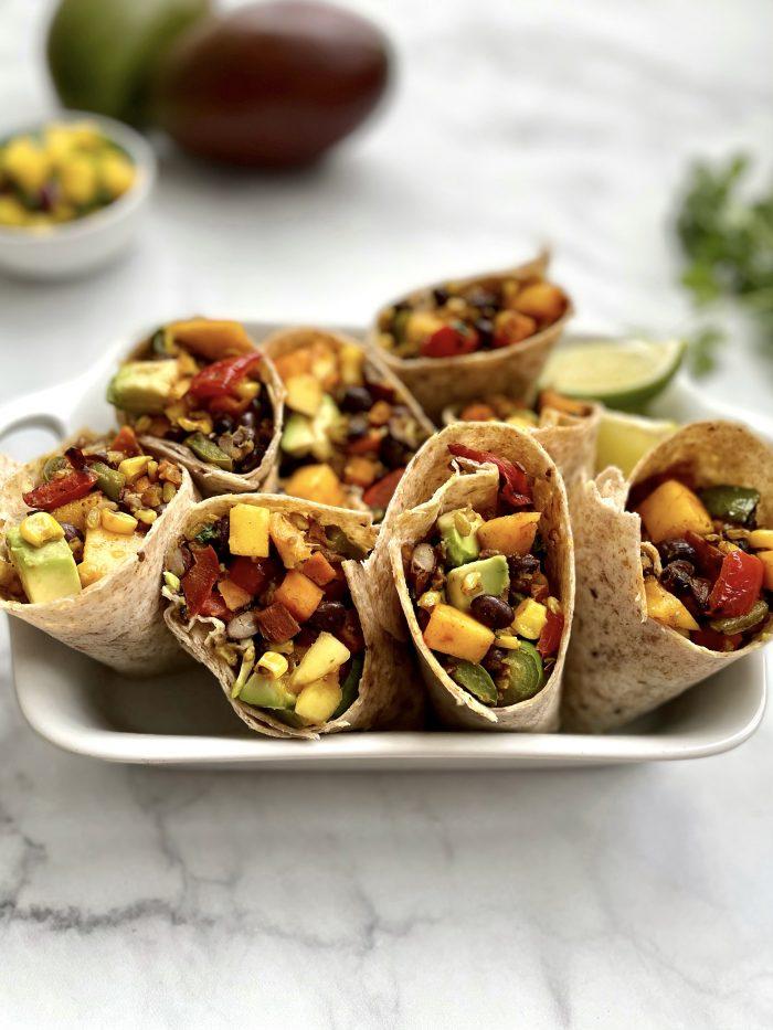 mango, black bean & caramelized veggie burrito